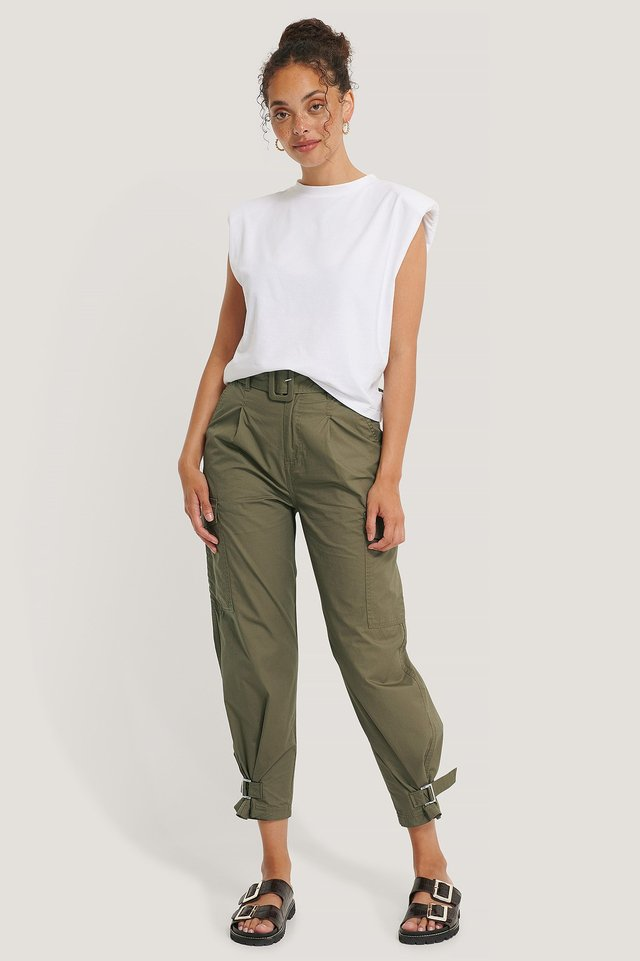 High Rise Belted Pant Olive