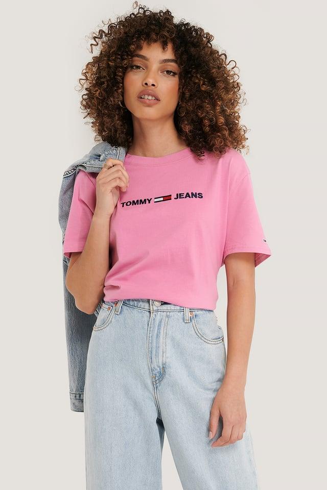 Moderni Suora T-Paita Logolla Pink