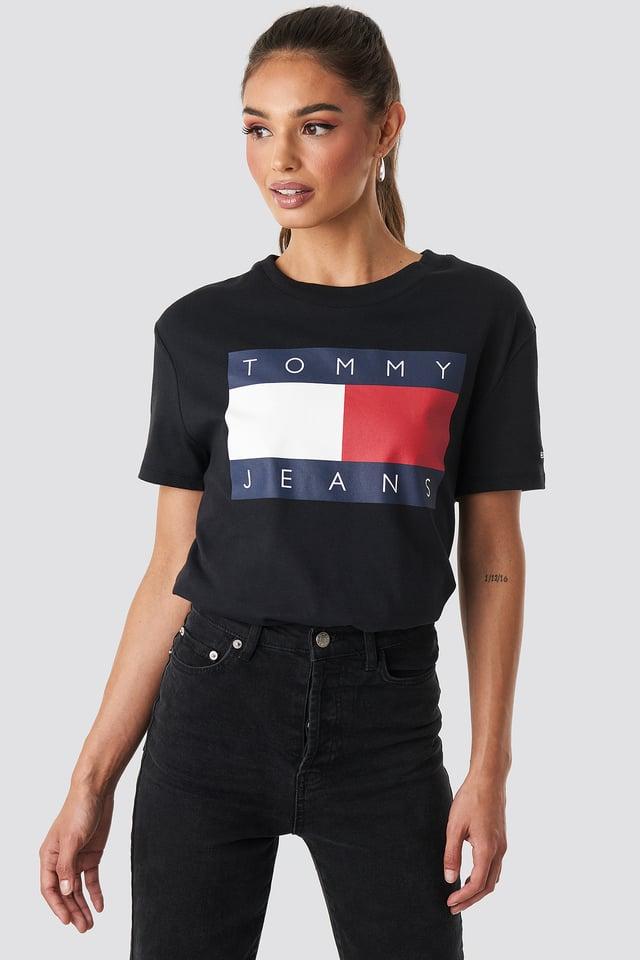 Tommy Flag Tee Black