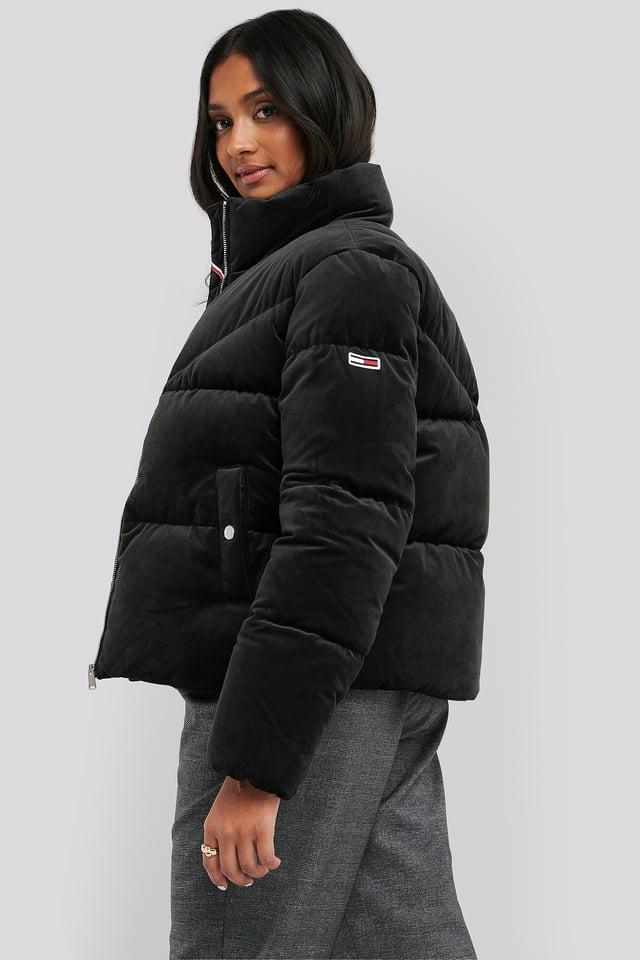 Velvet Puffa Jacket Black
