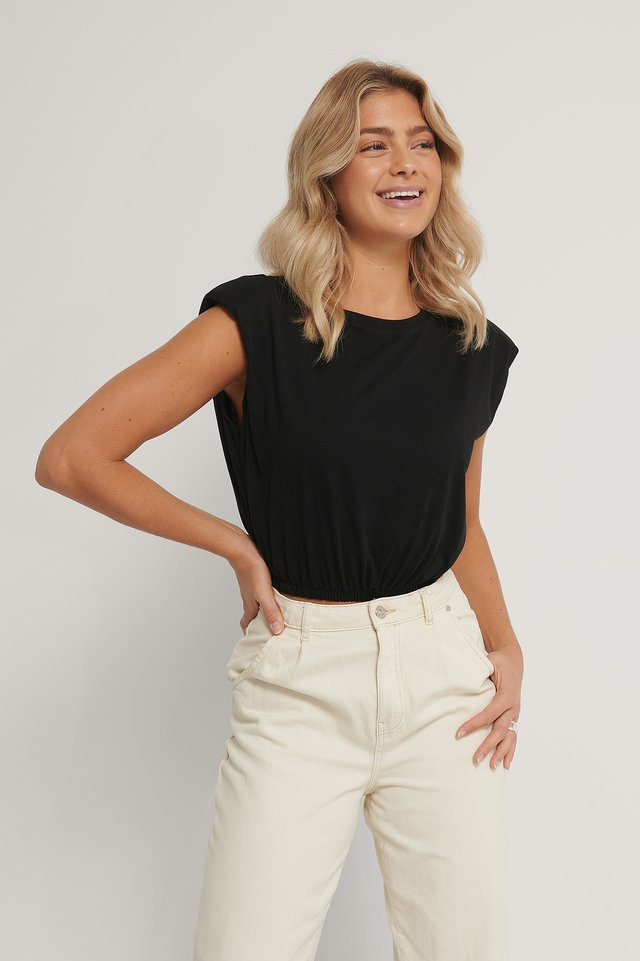 Wadded Shoulder Crop Top Black