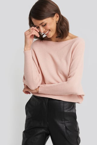 Powder Pink Bat Sleeve Sweater