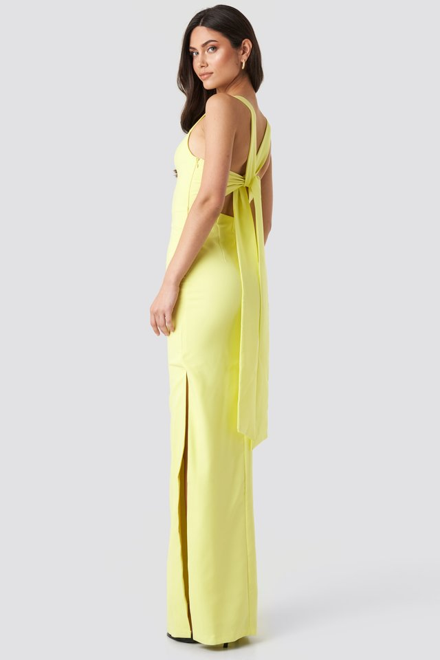 Back Detail Evening Dress Yellow