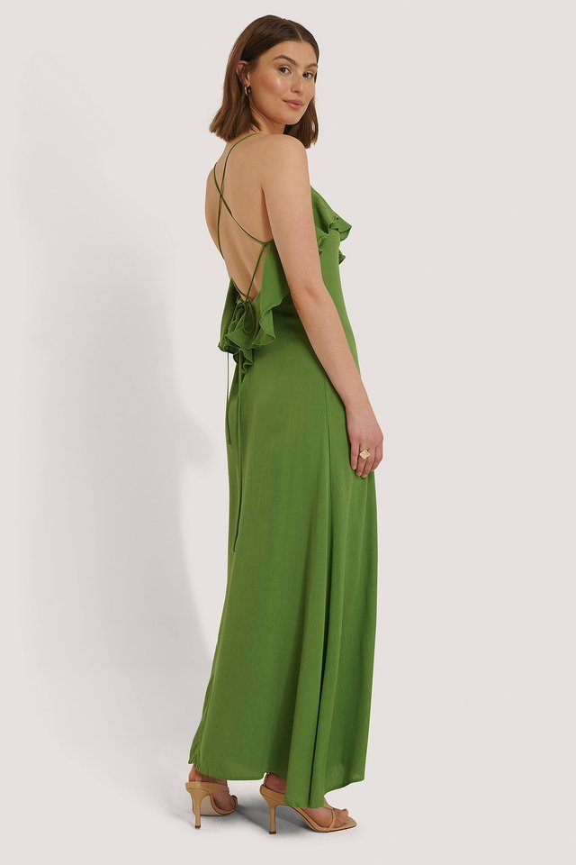 Green Back Detail Viscose Beach Dress