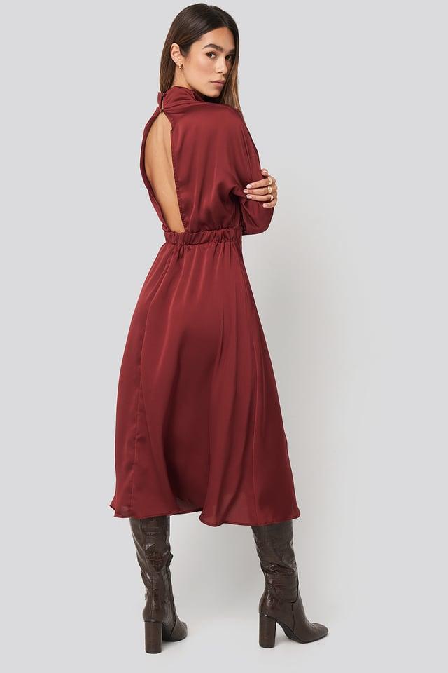Back Low-Cut Midi Dress Burgundy