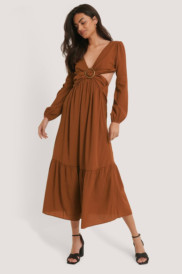 Back Tie Maxi Dress Cinnamon