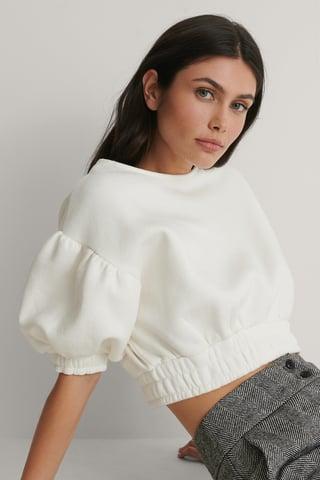 Ecru Krótki Sweter Z Bufiastymi Rękawami