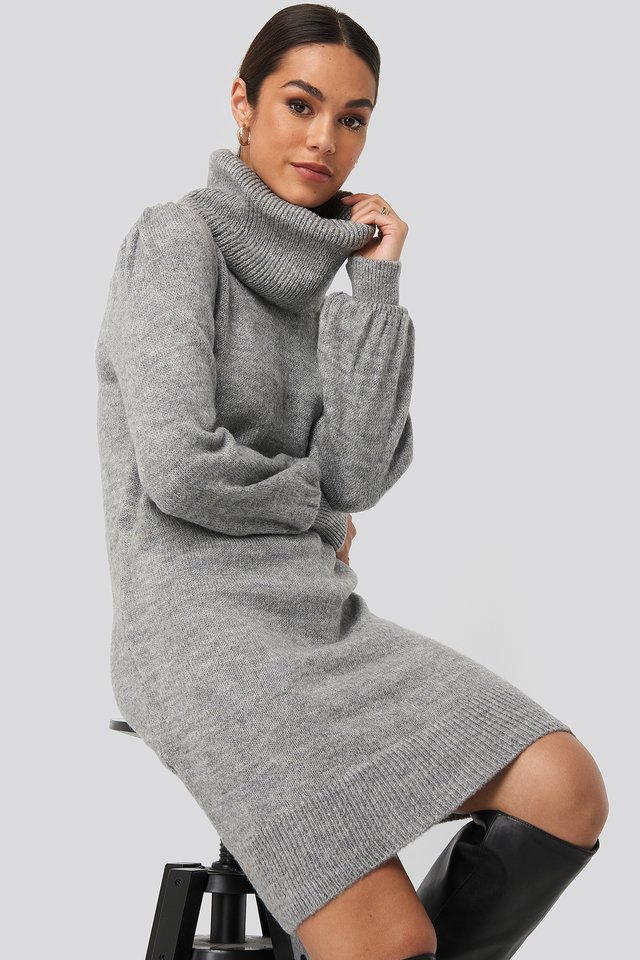 Balloon Sleeve Mini Dress Grey