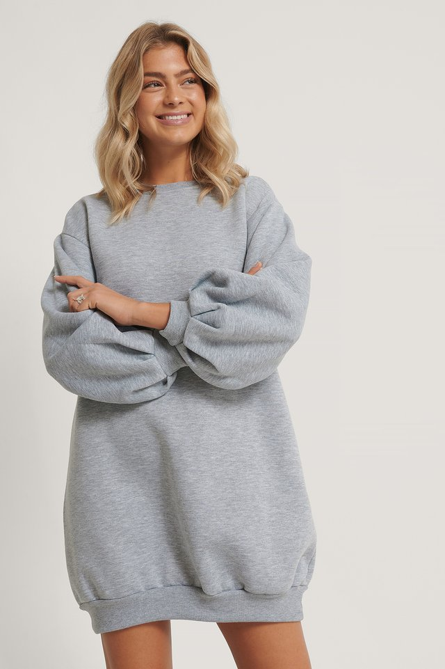 Balloon Sleeve Sweater Dress Gray