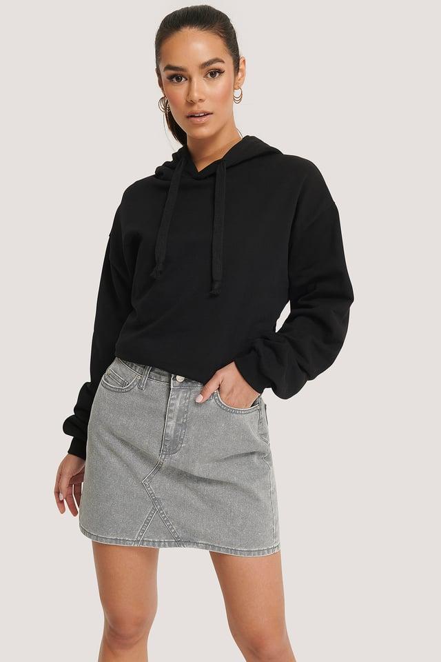 Basic Denim Mini Skirt Gray