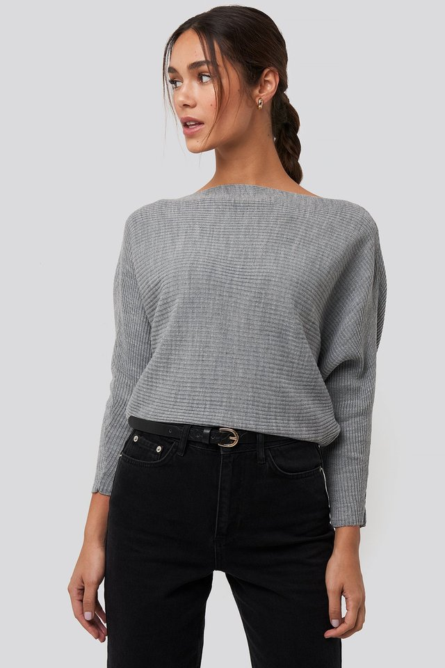 Bat Sleeve Sweater Gray