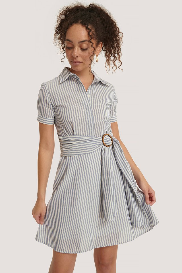 Belt Detailed Mini Dress Indigo