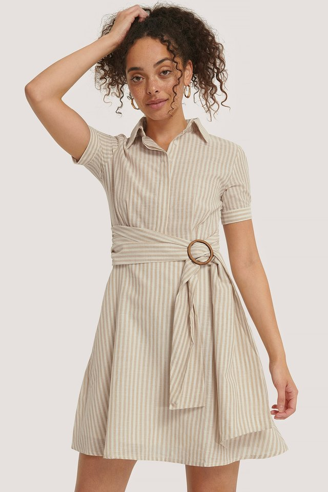 Belt Detailed Mini Dress Cream