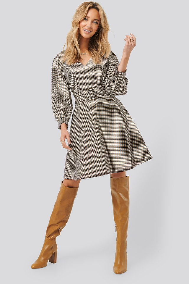 Belt Detailed Plaid Dress Multicolor