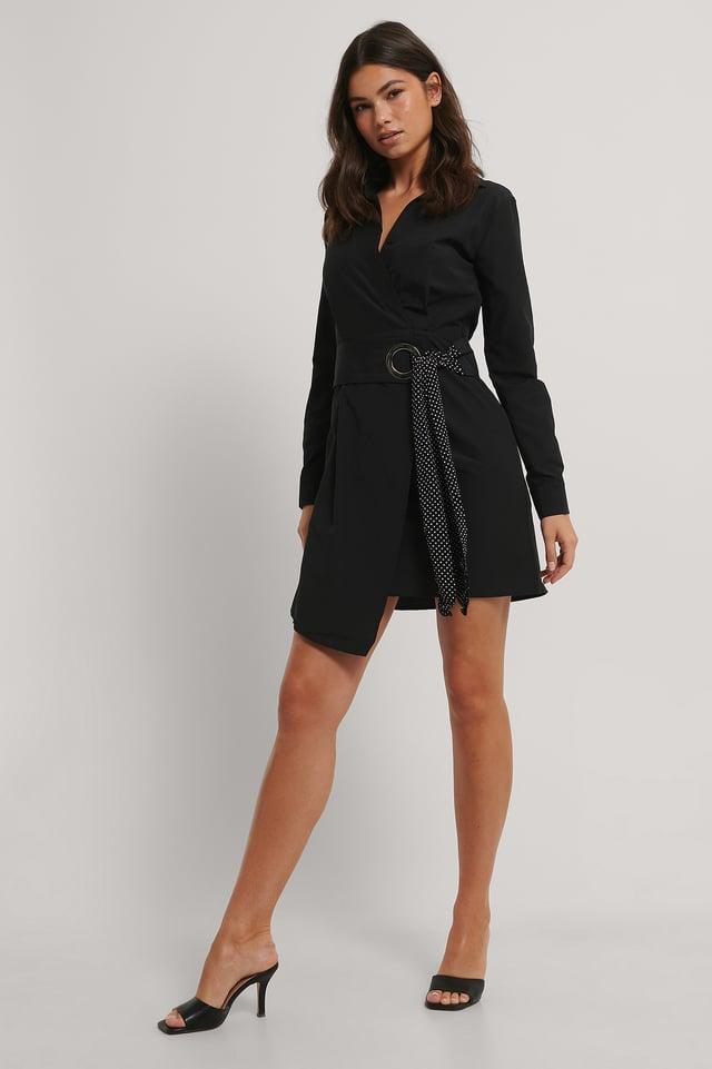 Belted Detailed Mini Dress Black