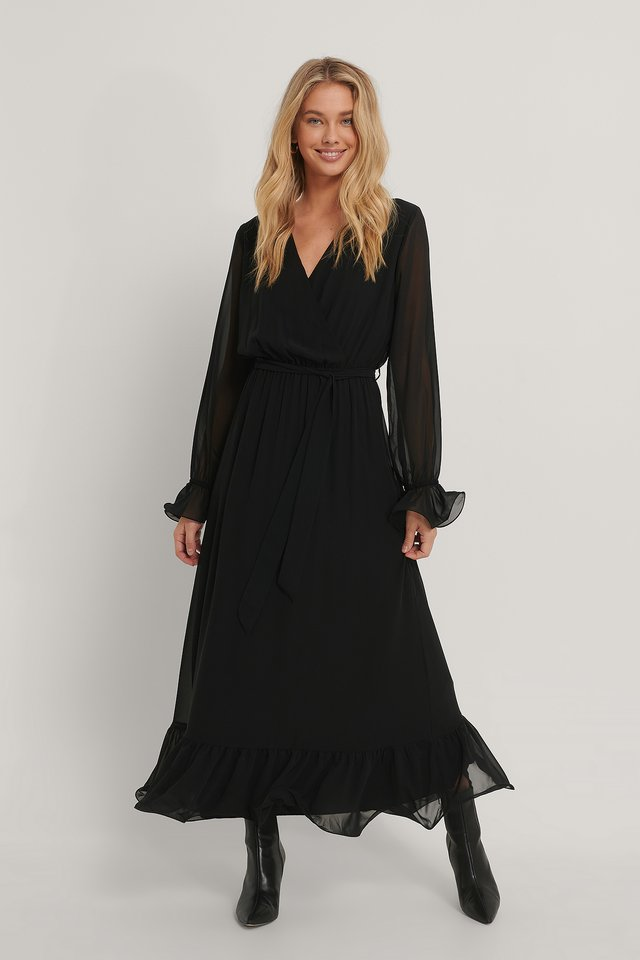 Black Belted Double Breasted Midi Dress