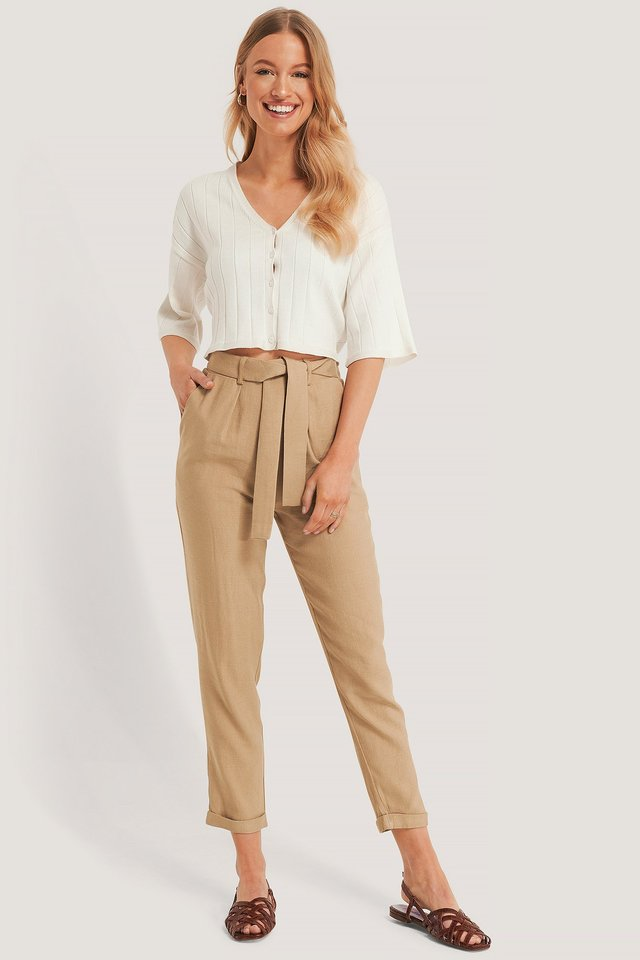 Belted Dressed Trousers Beige