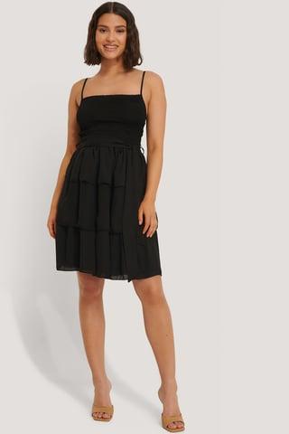 Black Minikjole Med Beltedetalj
