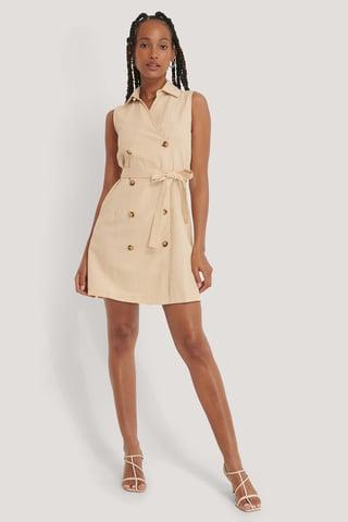Cream Belted Jacket Dress