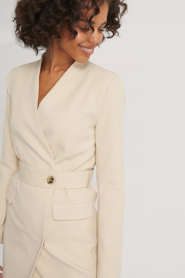 Belted Jacket Dress Stone