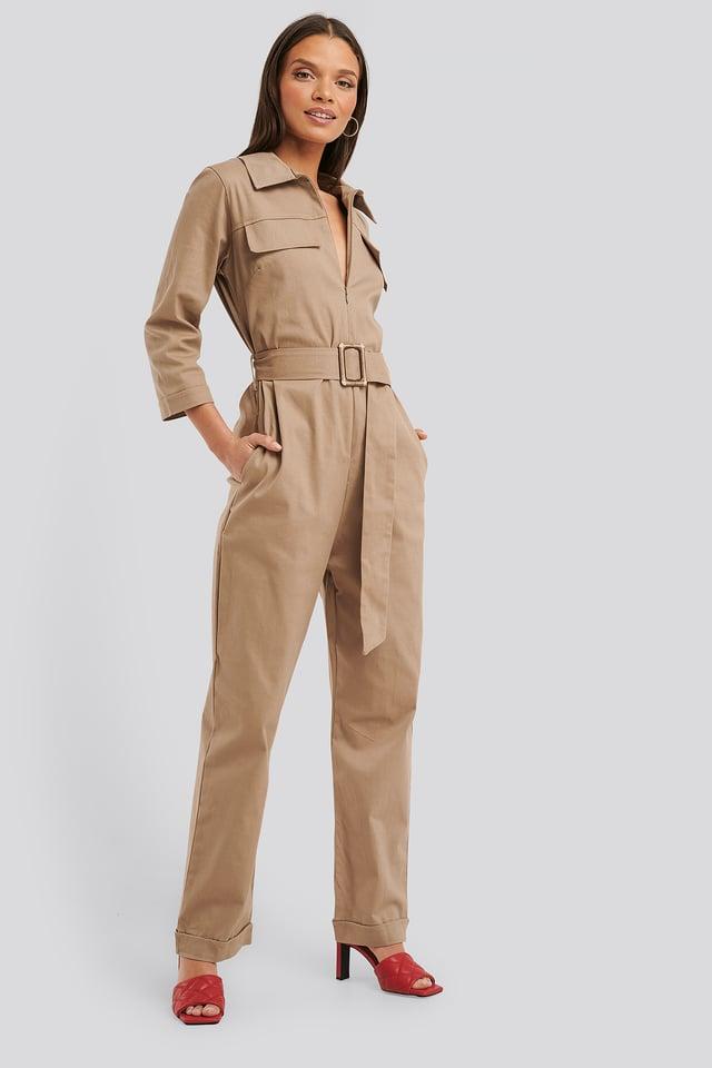 Belted Jumpsuit Mink