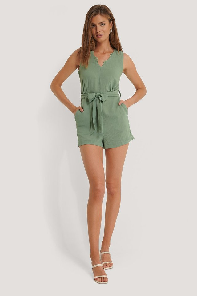 Belted Lace Collar Playsuit Green