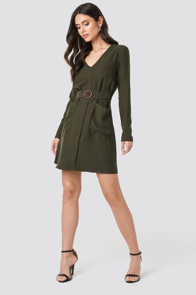Belted Midi Dress Green
