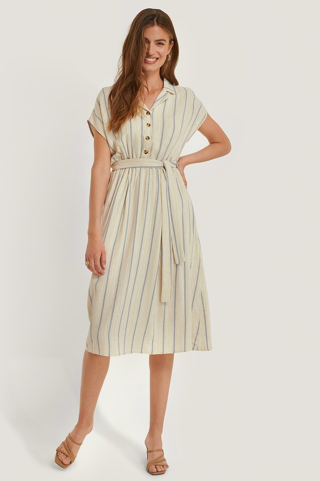 Belted Stripe Dress Blue