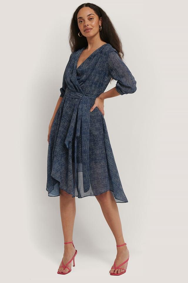 Belted Striped Midi Dress Blue