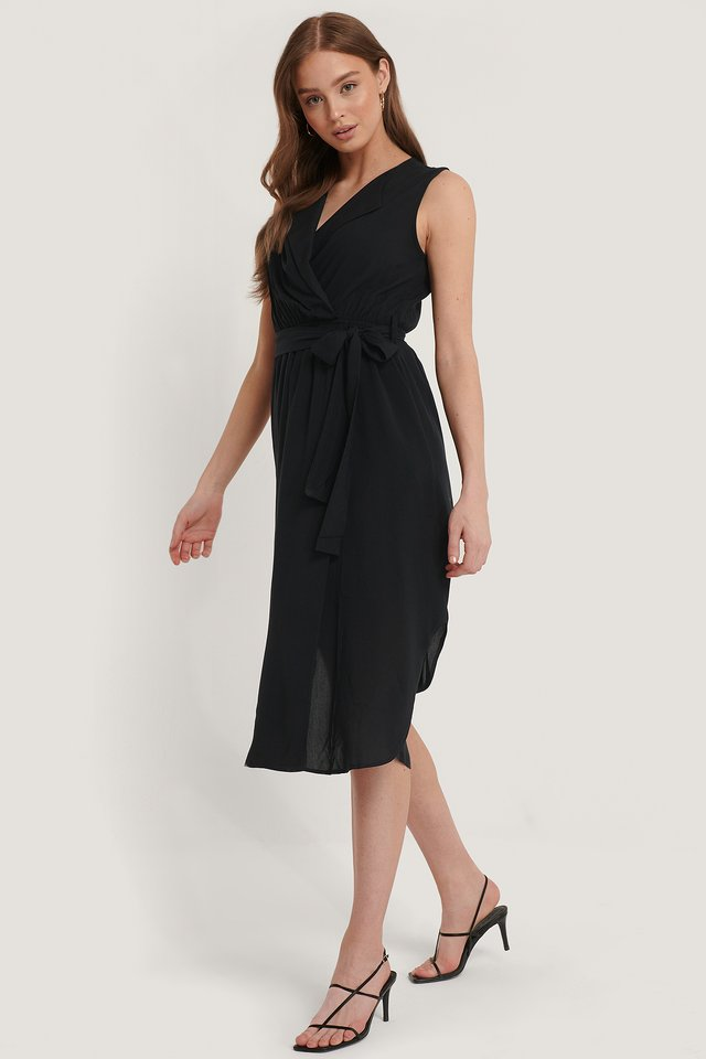 Belted Wrap Midi Dress Black