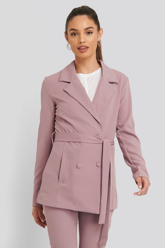 Binding Detailed Blazer Jacket Dusty Rose