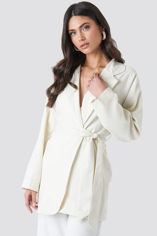Beige Binding Detailed Blazer