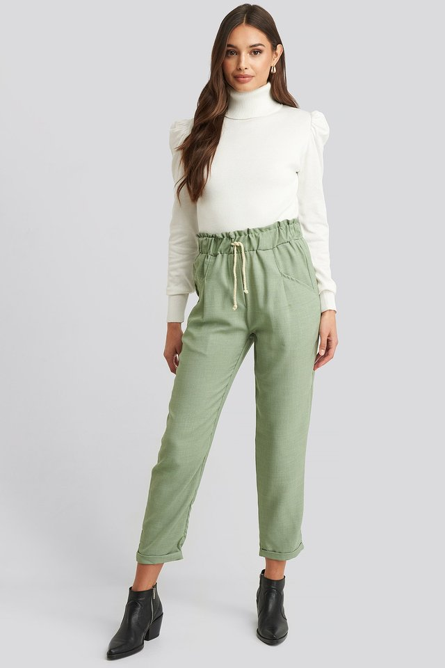 Binding Detailed Pants Mint
