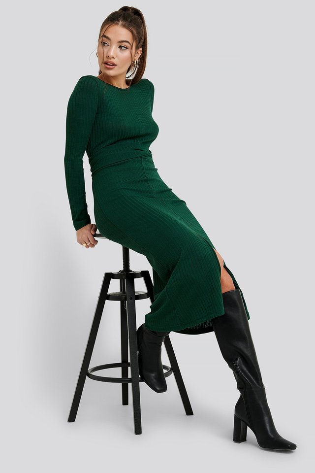 Binding Detailed Ribana Dress Green