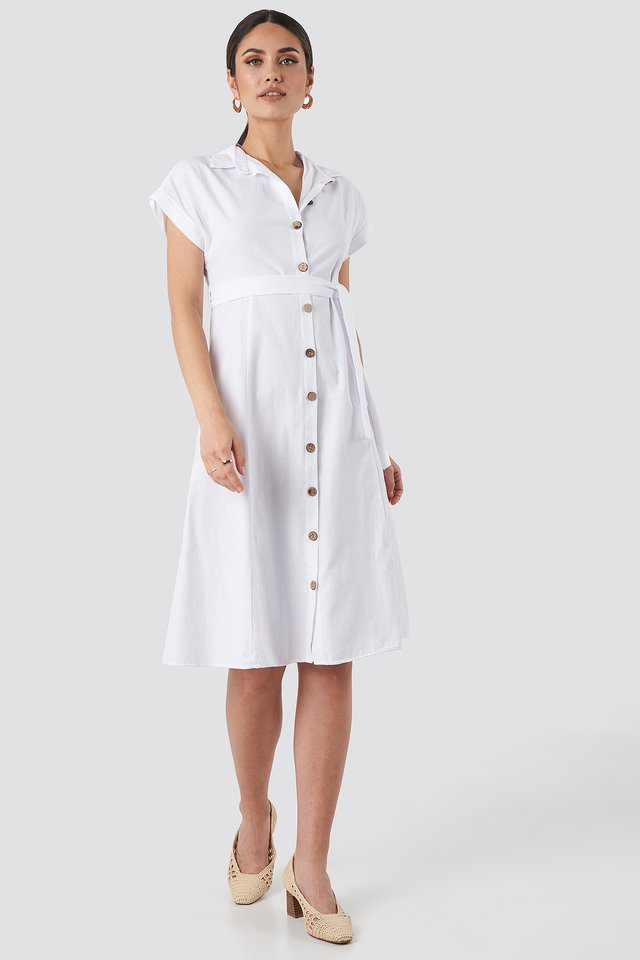 Binding Detailed Shirt Dress White