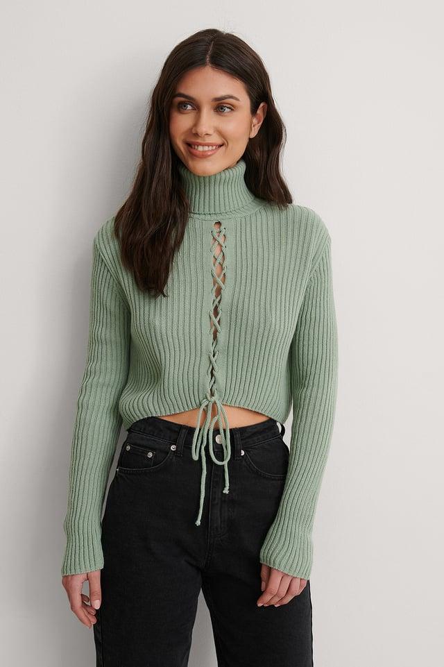 Mint Binding Knit Detail Sweater