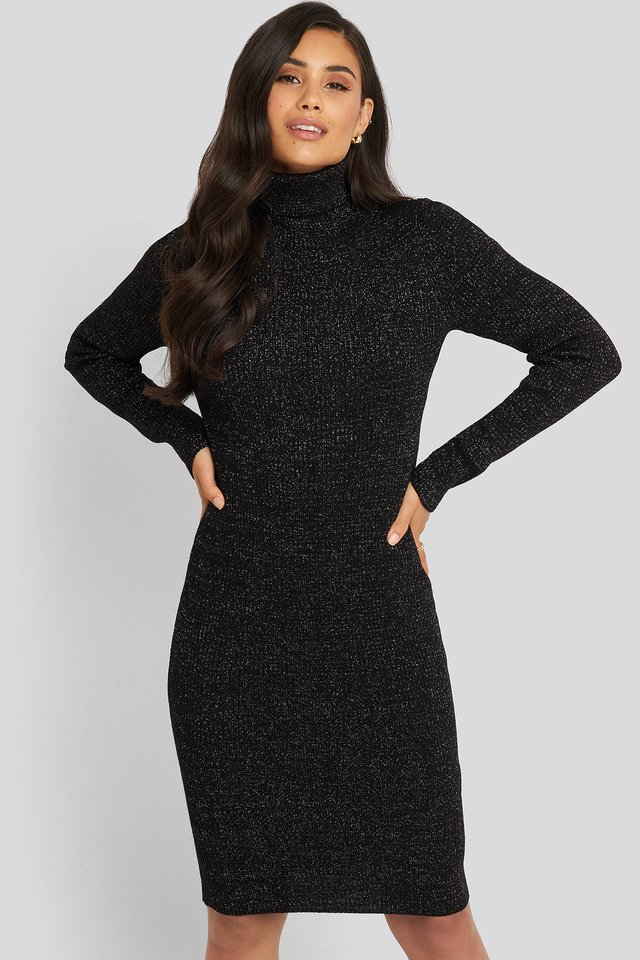 Black Metallic Turtleneck Dress Black