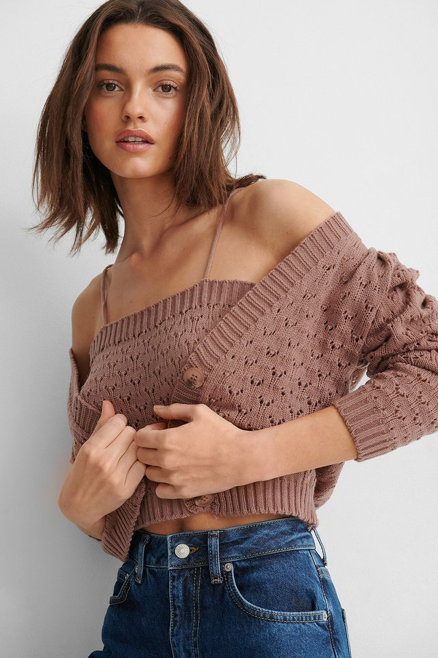 Dusty Rose Blouse Cardigan Knit Set
