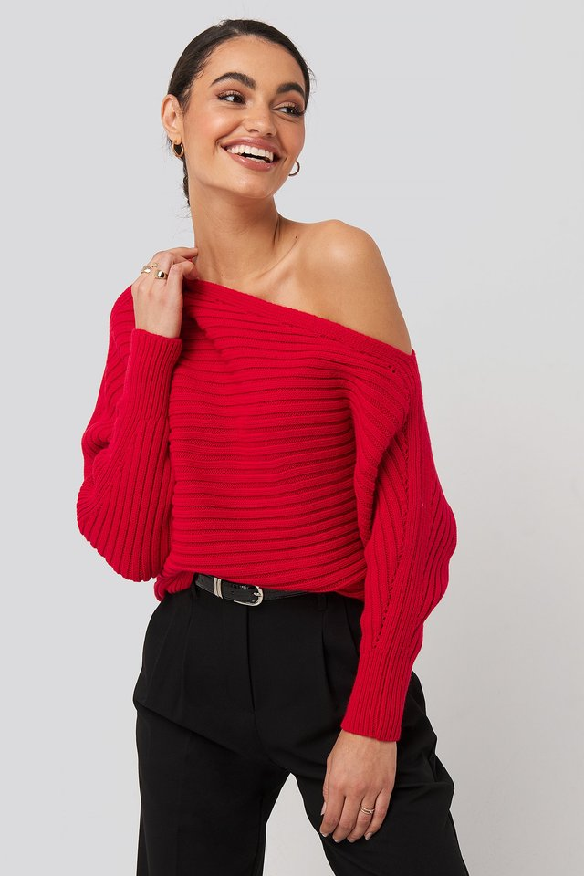 Boat Neck Knitted Sweater Red