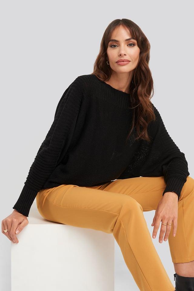 Black Boat Neck Sweater