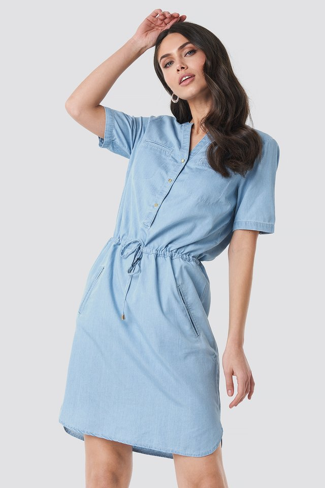 Bound Pocket Denim Dress Blue