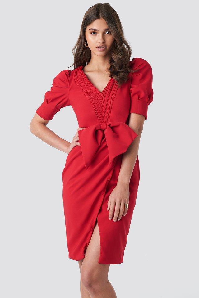 Bow Detailed Dress Red