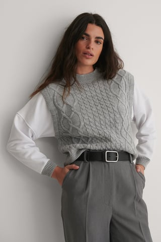 Gray Braided Knit Sweater