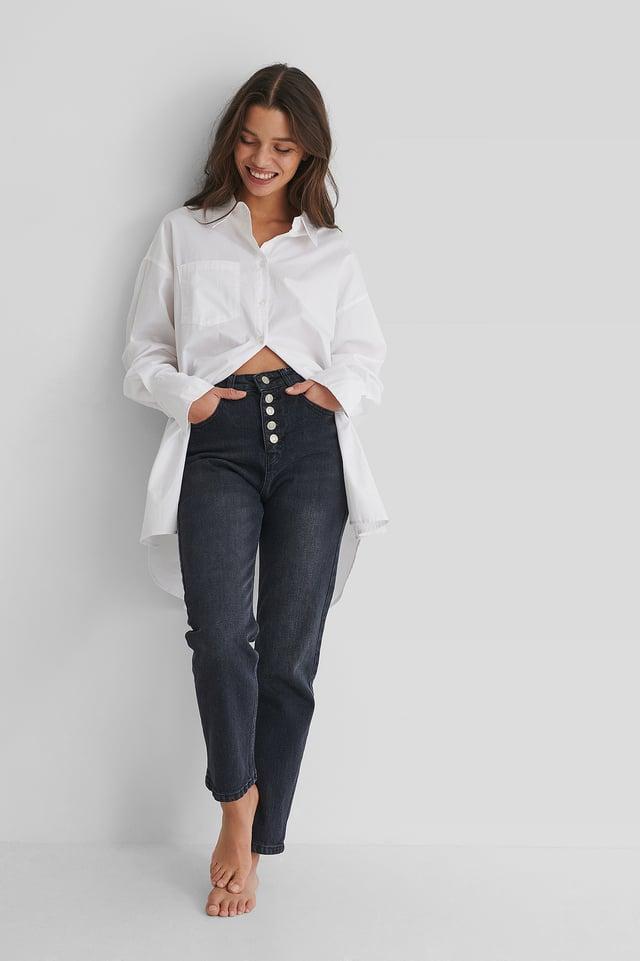 Black Button Detail Crop Jeans