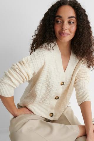 Ecru Button Detail Knit Cardigan