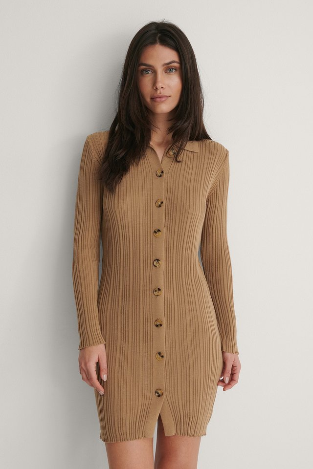 Camel Button Detail Knit Dress
