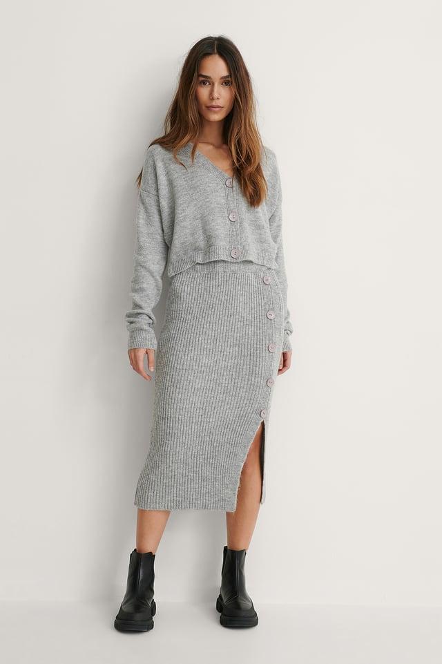 Grey Button Detail Knit Set