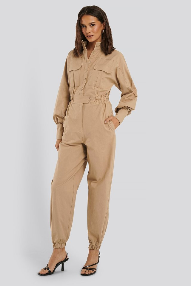 Button Detailed Jumpsuit Beige