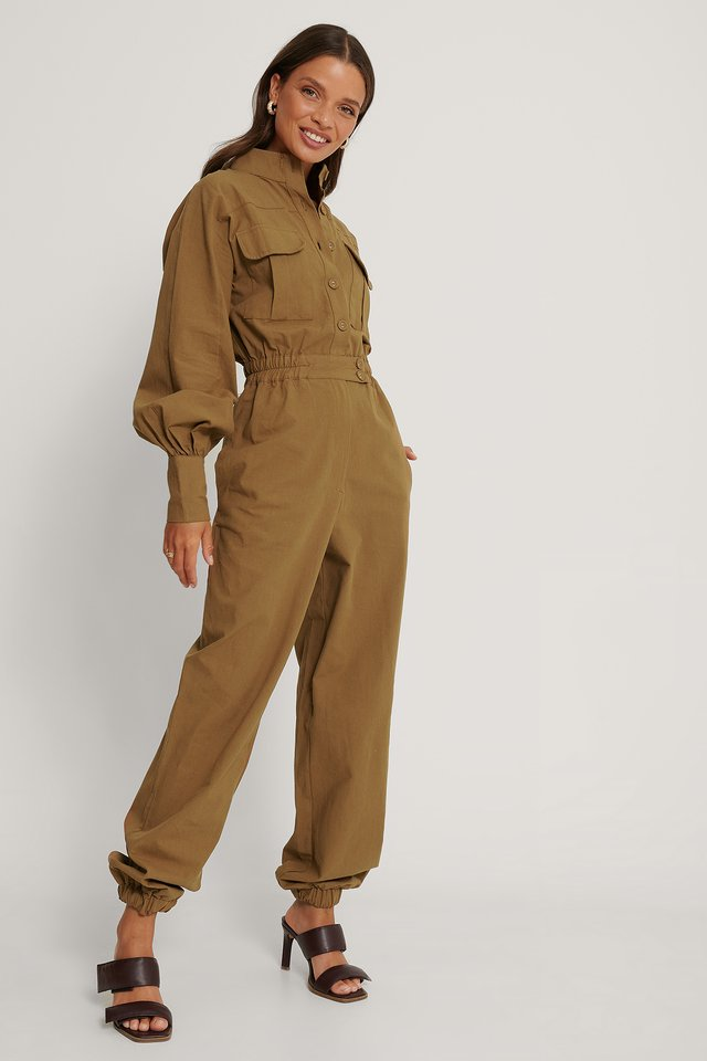Button Detailed Jumpsuit Brown
