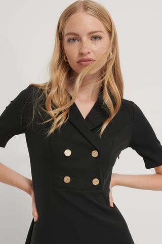 Black Button Detailed Midi Dress